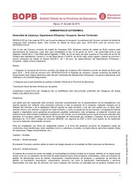 Dijous, 31 de juliol de 2014 ADMINISTRACIÓ AUTONÒMICA