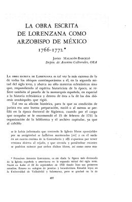la obra escrita de lorenzana como arzobispo de méxico