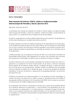 Nota resumen del informe 13/2015