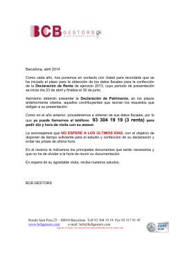 Ronda Sant Pere,25 – 08010 Barcelona Telf 93 304 19 19 Fax 93