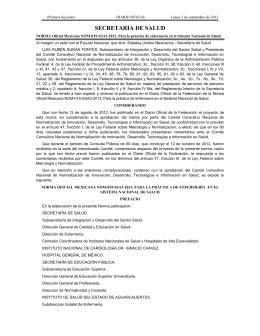 NORMA Oficial Mexicana NOM-019-SSA3