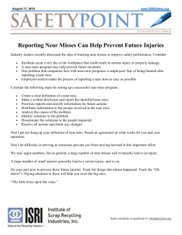 Reporting Near Misses Can Help Prevent Future Injuries