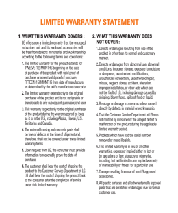 LIMITED WARRANTY STATEMENT