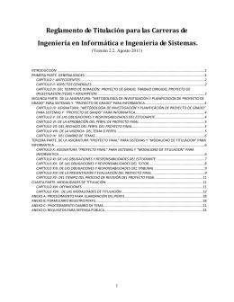 Reglamento de Titulación - Carreras de Informática y Sistemas