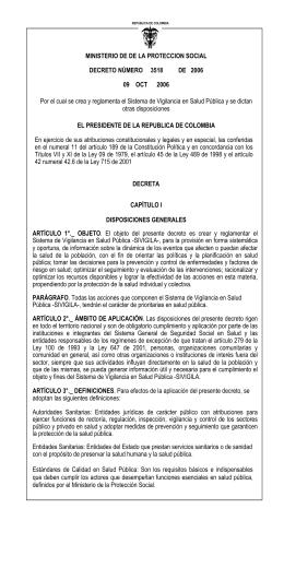 MINISTERIO DE DE LA PROTECCION SOCIAL DECRETO