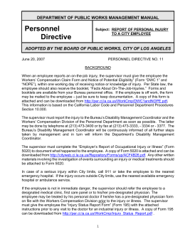 Personnel Directive - City of Los Angeles Board of Public Works