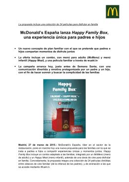 McDonald`s España lanza Happy Family Box, una experiencia única