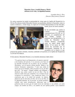 Monseñor Oscar Arnulfo Romero, Mártir defensor de la vida