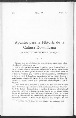 Apuntes para la Historia de la Cultura Dominicana - Clío