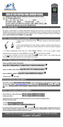 guia de uso rapida para iridium 9505a - Compan Ltda