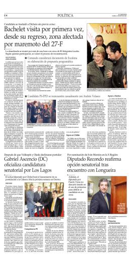 Bachelet visita por primera vez, desde su regreso, zona afectada
