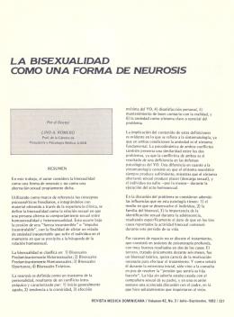 LA SISEXUALIDAD COMO UNA FORMA DE NEUROSIS