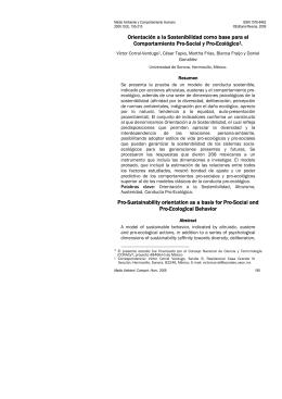 Orientación a la Sostenibilidad como base para el Comportamiento