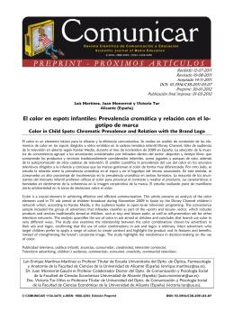 El color en espots infantiles: Prevalencia cromática y relación con el lo