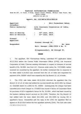 Decision No. CIC/MP/A/2014/002136 dated 23-06