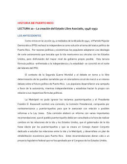 HISTORIA DE PUERTO RICO LECTURA 20 – La creación del