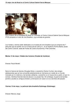 El mejor cine de Brasil en el Centro Cultural Gabriel García Márquez