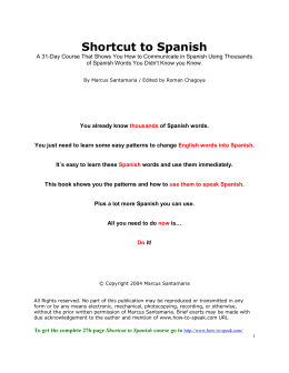 chapters 1-4 Shortcut to Spanish Action Guide