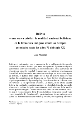 Bolivia – una wawa criolla *: la realidad nacional boliviana en la