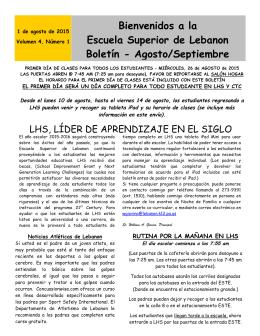 Bienvenidos a la Escuela Superior de Lebanon Boletín