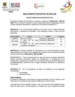 REGLAMENTO DISTRITAL DE BILLAR