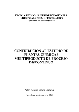 contribucion al estudio de plantas quimicas multiproducto de