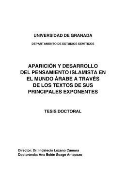 APARICIÓN Y DESARROLLO DEL PENSAMIENTO ISLAMISTA EN