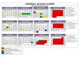 School Calendar - Universal Muslim Academy