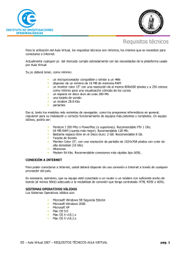 Requisitos técnicos - Instituto de Investigaciones Epidemiológicas