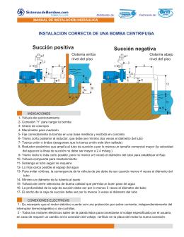 instalación correcta de una bomba centrifuga