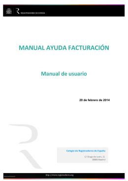 MANUAL AYUDA FACTURACIÓN - Registradores de España
