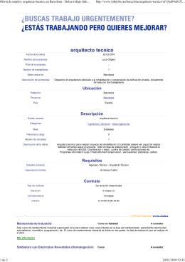 Oferta de empleo - Colegio Oficial de Aparejadores, Arquitectos