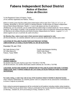 Fabens Independent School District Notice of Election Aviso de