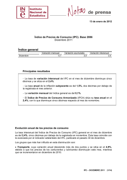 Índice de Precios de Consumo (IPC) de diciembre de 2011