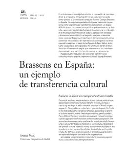 Brassens en España: un ejemplo de transferencia cultural