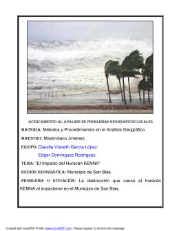 Descripción de los efectos del Huracán Kena en el municipio de