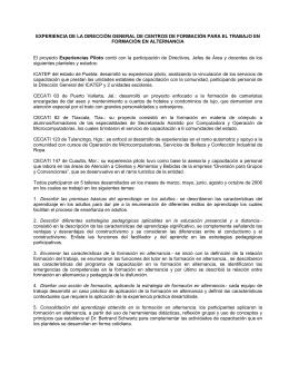 EXPERIENCIA DE LA DIRECCIÓN GENERAL DE CENTROS DE