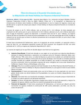 Fibra Inn Anuncia el Acuerdo Vinculante para la Adquisición del