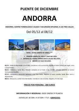 ANDORRA - Excursiones Bideonera