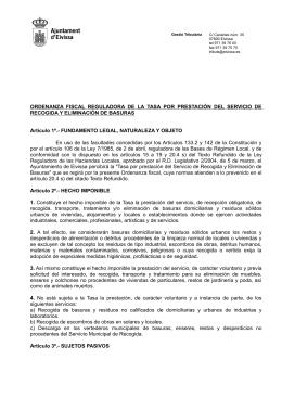 ORDENANZA FISCAL REGULADORA DE LA TASA POR