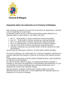 Impuesto sobre las estancias en el Comune di Bologna.
