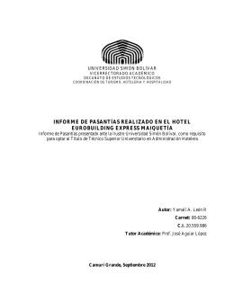 informe de pasantías realizado en el hotel eurobuilding express