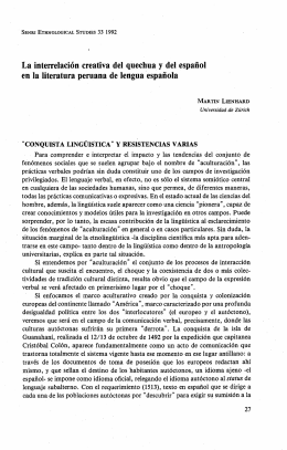 La interrelación creativa del quechua y del español en la . literatura