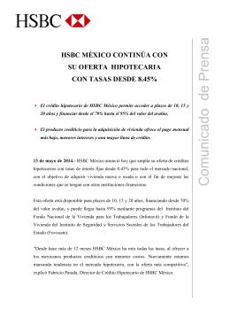 HSBC México continúa con su oferta hipotecaria con tasas desde