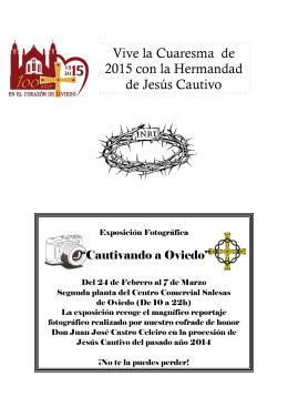 Vive la Cuaresma de 2015 con la Hermandad de Jesús Cautivo