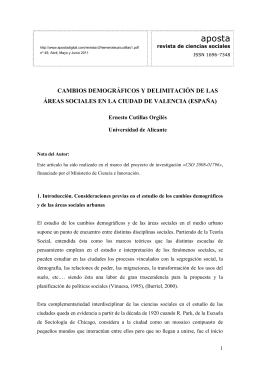 CAMBIOS DEMOGRÁFICOS Y DELIMITACIÓN DE LAS ÁREAS