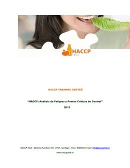 """HACCP TRAINING CENTER """"HACCP: Análisis de Peligros y Puntos"""