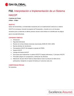 F02. Interpretación e Implementación de un Sistema HACCP