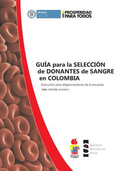 Guía para Selección de Donantes de Sangre en Colombia 2013