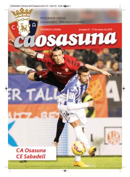 OSASUNA 18 Enero 2015:Osasuna 2012-13
